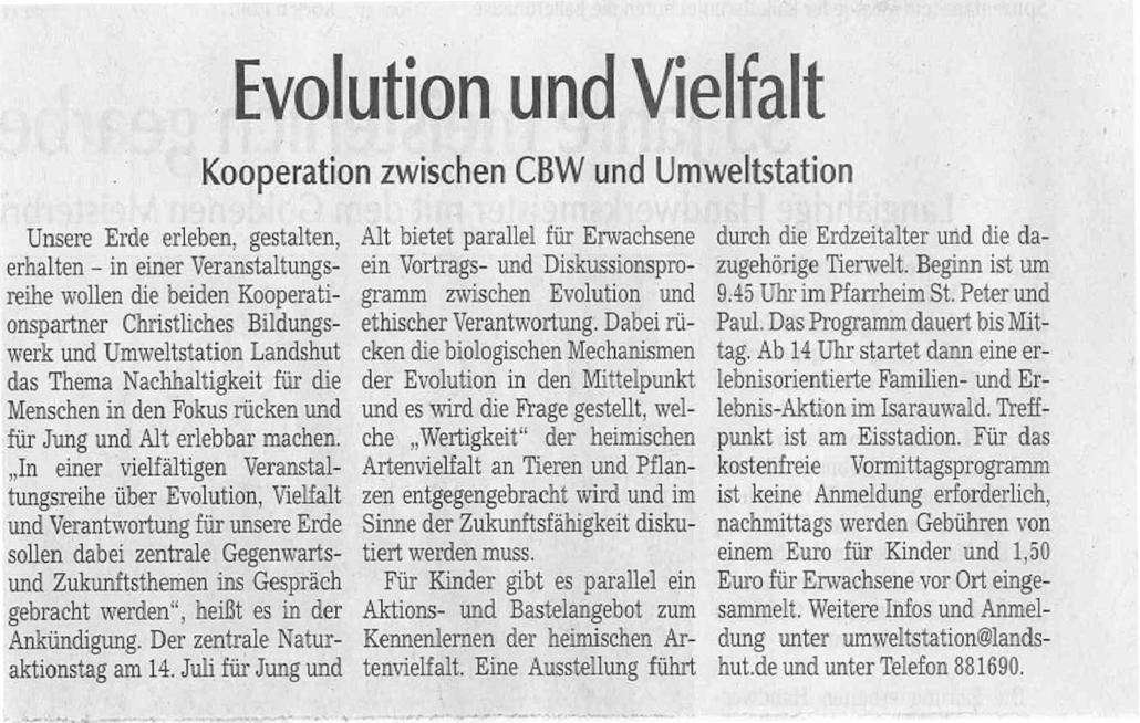Evolution und Vielfalt. Kooperation zwischen CBW und Umweltstation